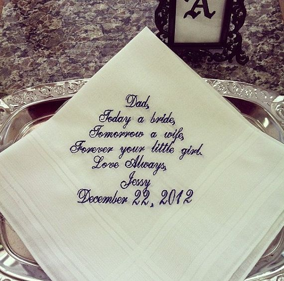 Father of the Bride Gifts Wedding Party Wedding Handkerchief Personal ...