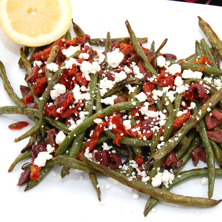 roasted green beans with olives, sun-dried tomatoes and goat cheese.