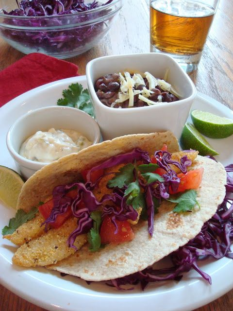Corn-Crusted Fish Tacos with Jalapeno-Lime Sauce and Spicy Black Bean ...