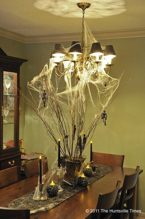 Table centerpiece with spiders web