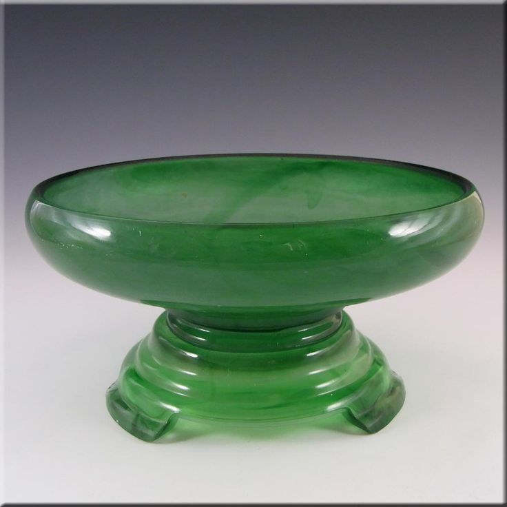 Davidson Large Art Deco Green Cloud Glass Bowl #21  £3299