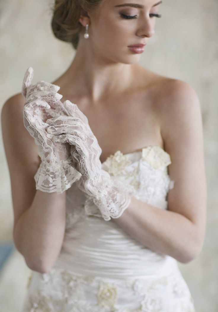 """Pure Elation Lace Gloves 28.99 at shopruche.com. A peplum silhouette exudes vintage charm on these cream lace gloves finished with an elasticized wrist for a comfortable fit.  10"""" long"""