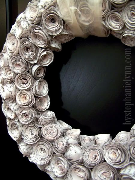 Recycled paper rose wreath