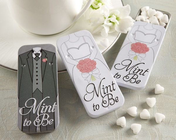 """Mint to Be"" Bride and Groom Slide Mint Tins with Heart Mints.  These are just the cutest I am getting these for my reception."