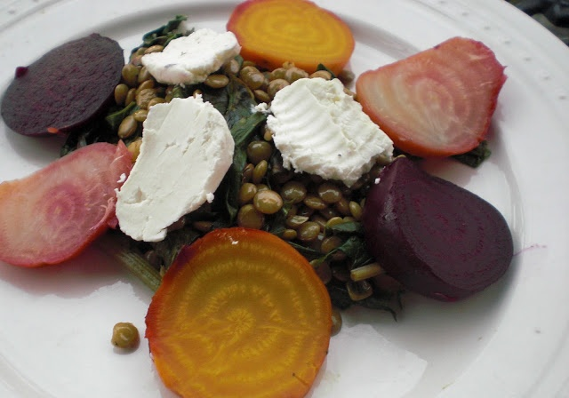Off Your Tush and Cook: Warm Lentil Salad with Beets and Goat Cheese ...