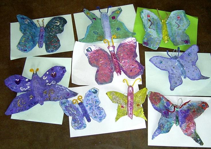 Papier m ch butterflies art projects pinterest for Paper mache activities