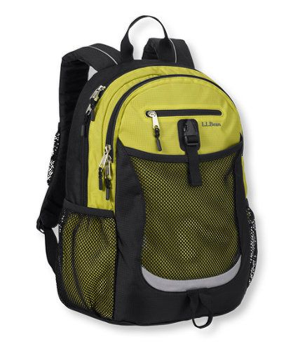 For the active girl, we like this outdoor-inspired backpack that maintains classic school-pack features.  From L.L. Bean, designed for ages 9 and up.  Also in bright blue, orange, a gray-blue, and ash.