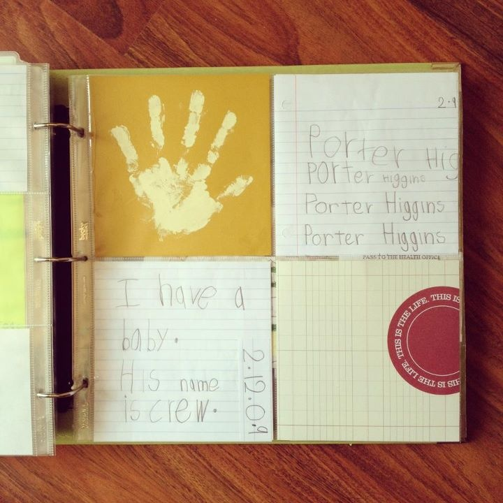 love the hand print - project life