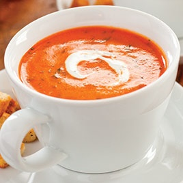 Roasted Red Pepper Soup with Smoked Paprika and Cilantro Cream - Cooks ...