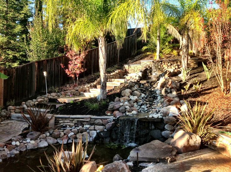 Home Water Fall Stairs : Water fall and steps.  Outdoors at home. Flowers, projects and ...