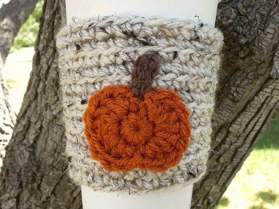 Crochet Coffee Cozy, Coffee Cup Cozy, Cream Tweed with Pumpkin Appliq ...