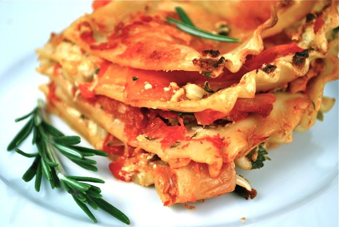 roasted red pepper chevre lasagne sub roasted red pepper sauce for ...