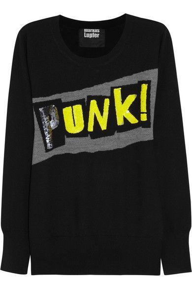 Shop now: Punk! sequin merino wool sweater