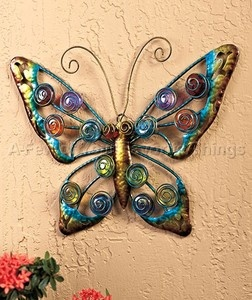 Butterfly outdoor wall art decor yard metal fence garden for Outdoor butterfly decor