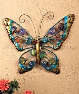 Butterfly outdoor wall art decor yard metal fence garden for Outdoor butterfly decor