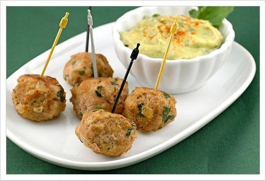 Turkey Meatballs with Avocado-Citrus Dipping Sauce | Recipe