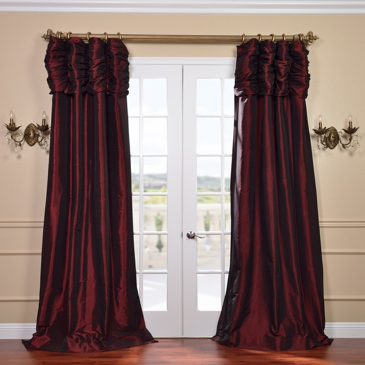 ... Ruched Header Faux Silk Taffeta 120-inch Curtain Panel | Overstock.com