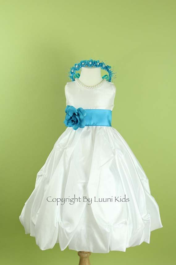 Flower girl dress white pick up skirt dress with for White and turquoise wedding dresses