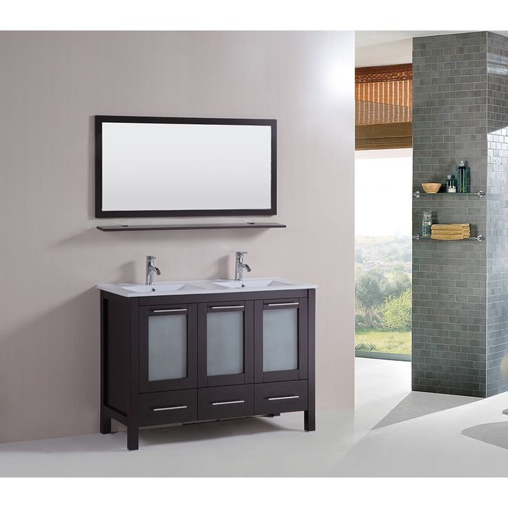 Kokols 48inch Double Vanity Bathroom Ceramic Sink Cabinet Combo Set