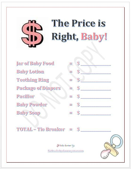 price is right baby shower game girl party ideas pinterest
