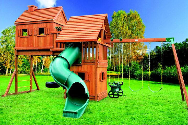 Pin by best in backyards on wooden swing sets pinterest for Tree house swing set