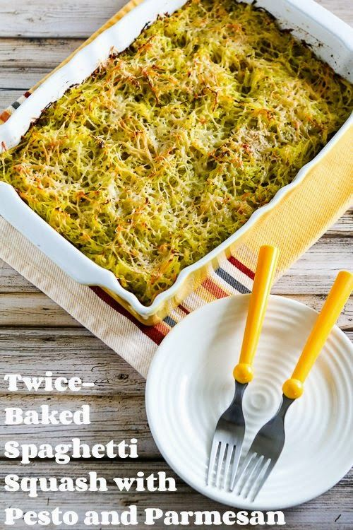 ... Twice-Baked Spaghetti Squash with Pesto and Parmesan (Low-Carb, Gluten