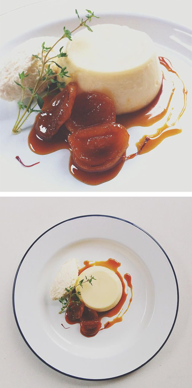 thyme and honey panna cotta with Pimms and saffron apricots
