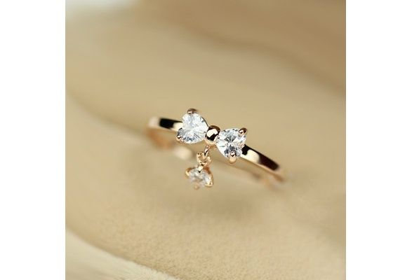 Vancaro Women's Fashion Rings Crystal Bowknot with Crystal Charm Alloy