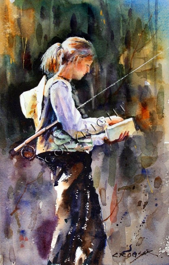 Woman fly fishing 12 x 18 watercolor print by dean crouser for Fly fishing art