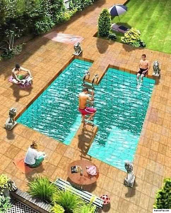 Effet d 39 optique sur une piscine image et magie pinterest for Effet miroir sur une photo
