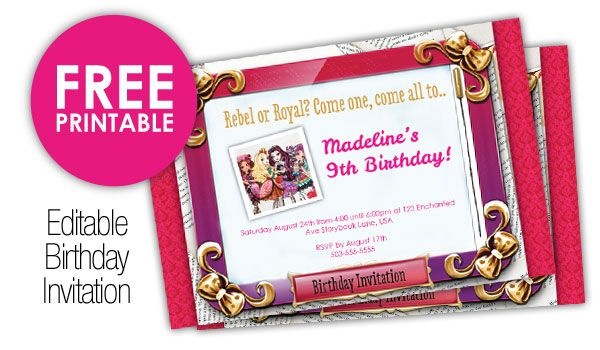 Ever After High Invitations