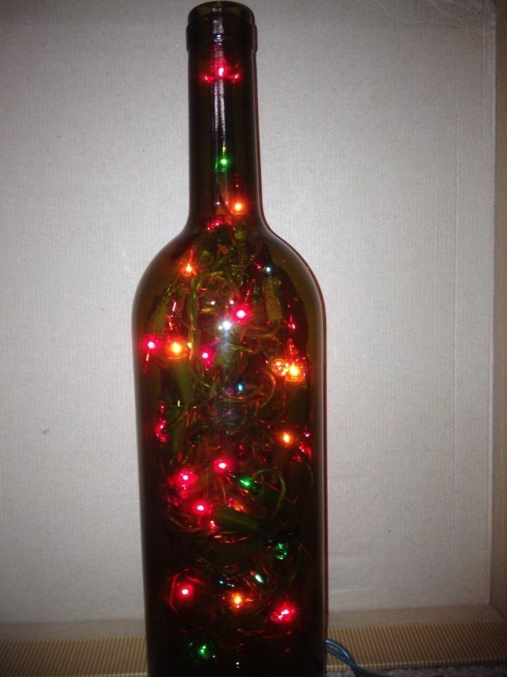 Wine bottle with led lights crafts for me pinterest for Light up wine bottles