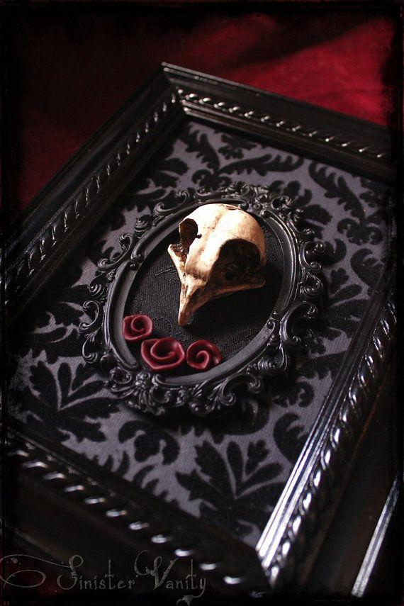 Gothic Victorian Owl Skull Black Velvet Damask Goth Wine