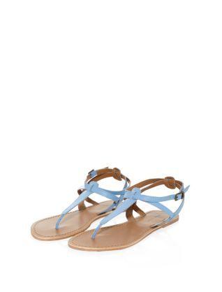wedgewood blue blue light blue leather strappy flat sandals. Black Bedroom Furniture Sets. Home Design Ideas