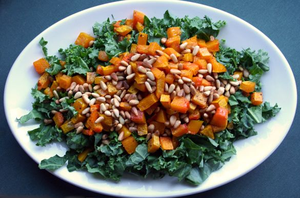 Kale Salad with Roasted Butternut Squash and Pine Nuts with Lemon ...