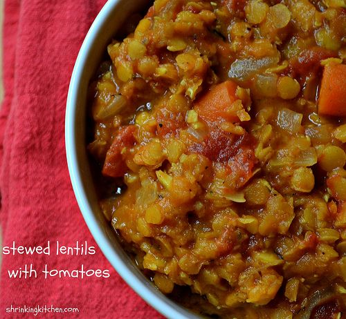 Stewed Lentils with Tomatoes - Serves 4 - As a Side Dish or a Main ...