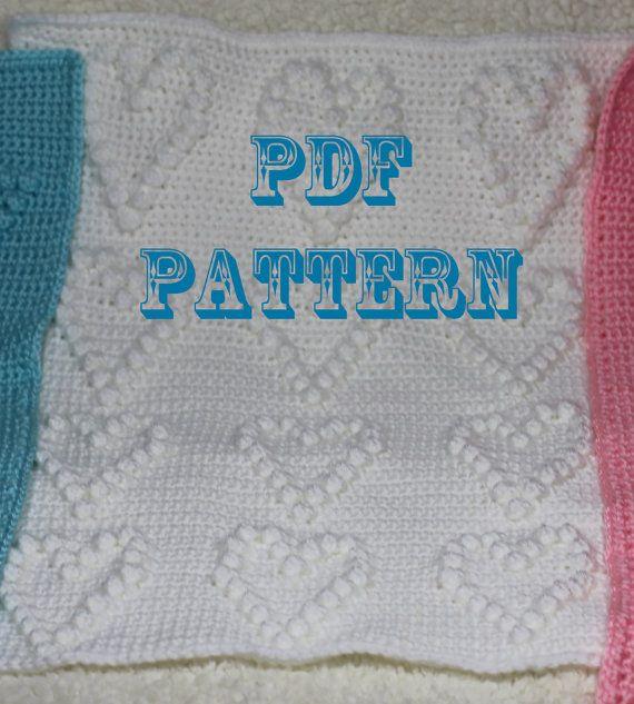 Crochet Pattern - Crochet Hearts Baby Blanket - Baby ...