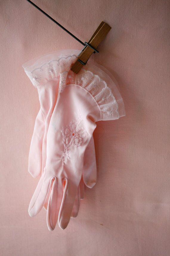 Pink vintage gloves http://www.etsy.com/listing/84489262/pink-ruffles-vintage-gloves  #pink #gloves #vintage