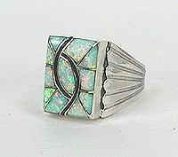 Native American Opal Ring Norman Lee Navajo Sterling Silver