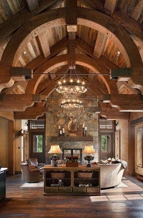 Arches and steel support timber frame cabin pinterest for Arched ceiling beams