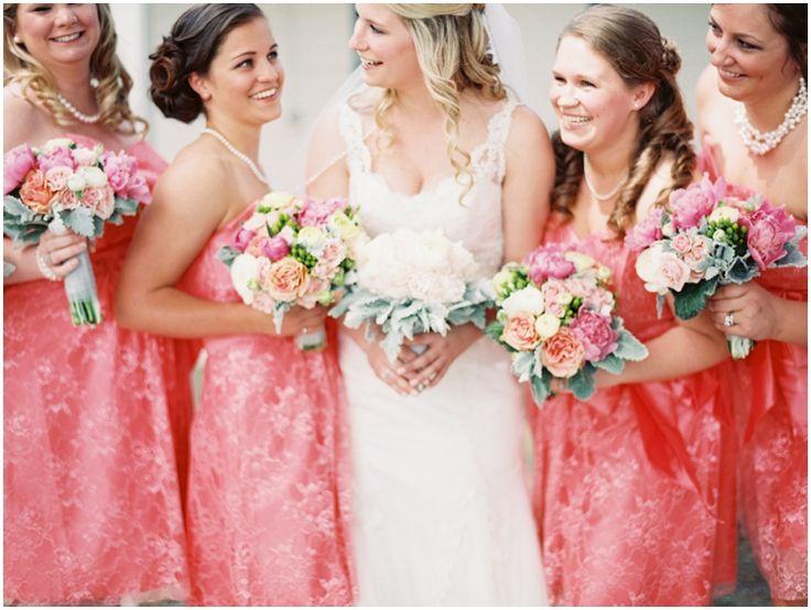 Love these floral watermelon pink bridesmaid dresses! Charlottesville film fine art destination wedding photographer