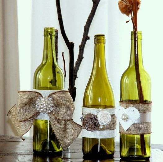 Pretty decorated wine bottles wedding stuff pinterest
