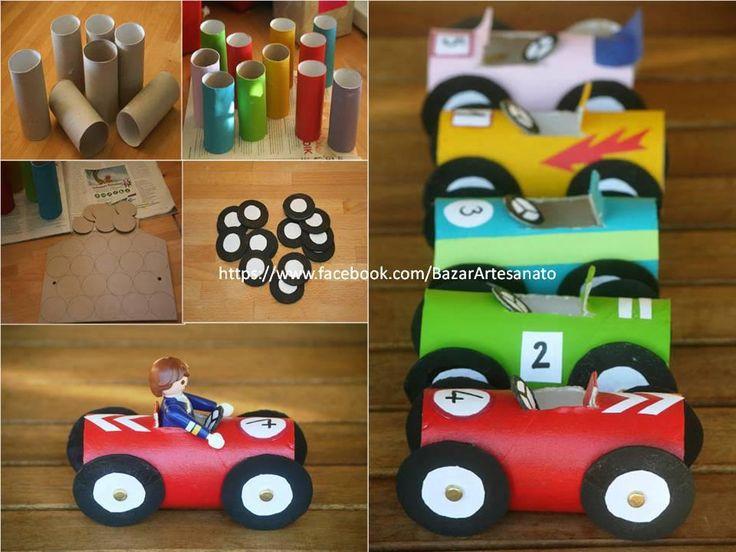 Recyclage rouleaux papier toilette en voitures bricolage rouleaux papier toilette pinterest - Bricolage papier toilette ...