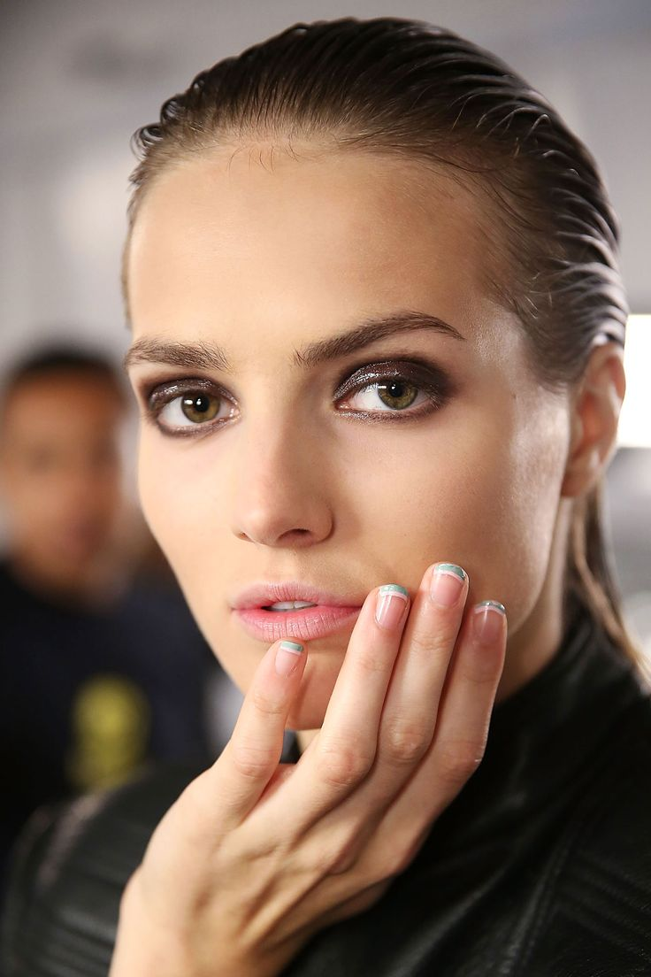 Sophie Theallet - double french manicures at ss2015 fashion week #runway #makeup #beauty
