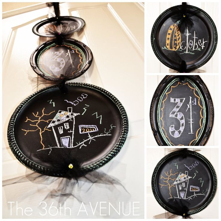 From Platters to Chalkboards Tutorial... I love Halloween! #halloween #chalkboard