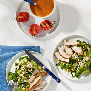 Feta, Corn, and Chicken Salad with Smoky Tomato Dressing