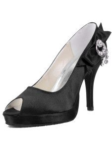 Elegant Silk And Satin Rhinestone Peep Toe Shoes N Delivery to over