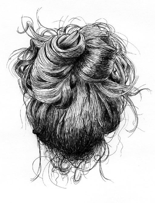 Messy Bun Studies - Ian Thomas  In the context of lecture classes, there's only so much one can draw from life. The subject I thought most interesting, and found had the greatest variety, was my classmates' messy hair buns. This is a series of ink illustrations inspired by the drawings originally done in the margins of notes, like so much of my work.
