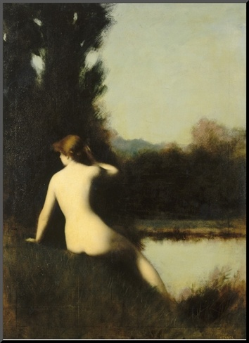 Nymph Sitting on the Edge of Water, Called the Source    by Jean Jacques Henner