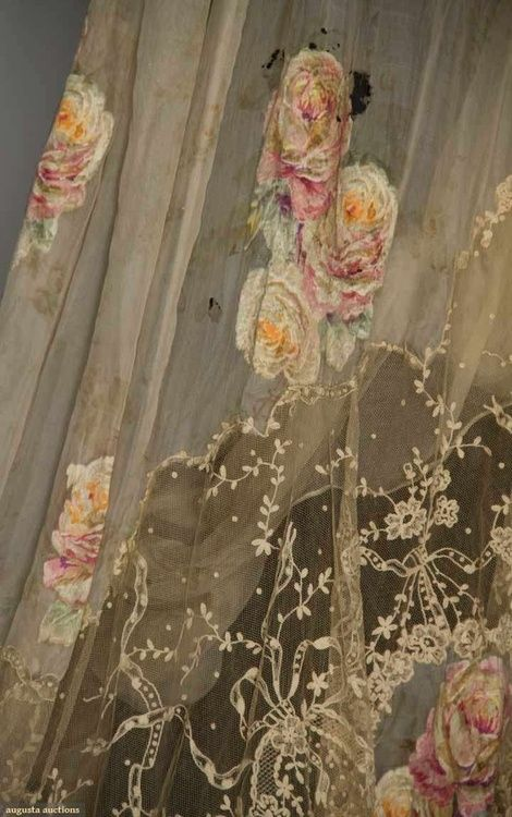 vintage lace and hand painted roses lace curtains